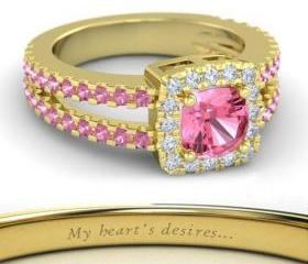 925 Silver 14k Yellow Gold Plated Princess Enchanted Pink & White Cz Anniversary Ring Size 8