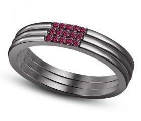 Vintage Black Rhodium Platinum Over 925 Silver Pink Sapphire Anniversary Handmade Band Ring