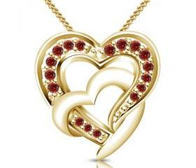 Express Love Abstract Colors 14K Gold Plated 925 Silver Red Garnet Stone Pendant
