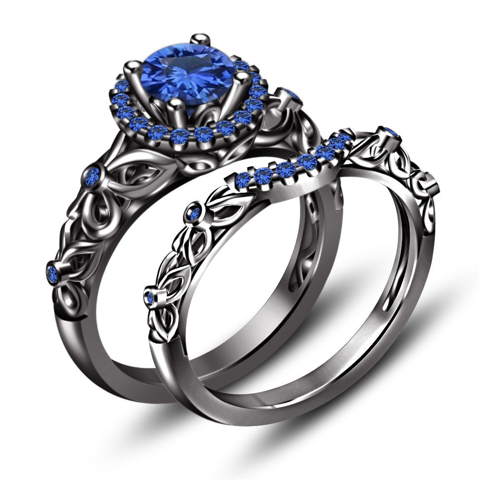 Engagement Bridal Set Ring 925 Sterling Silver Black Gold Plated Blue Sapphir