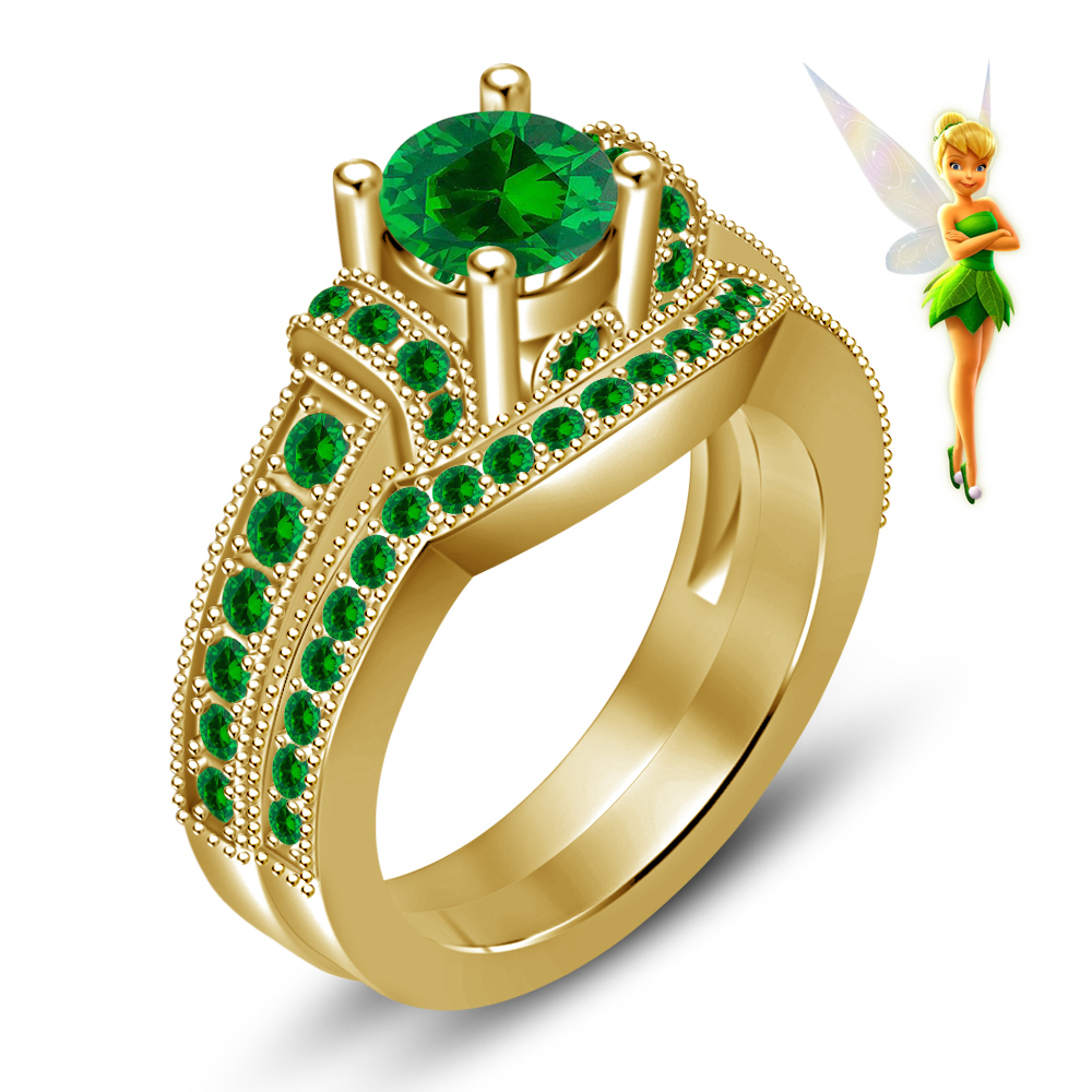 Green Sapphire 14K Yellow Gold Over 925 Silver Handmade Tinker Bell Disney Fairies Wedding Ring