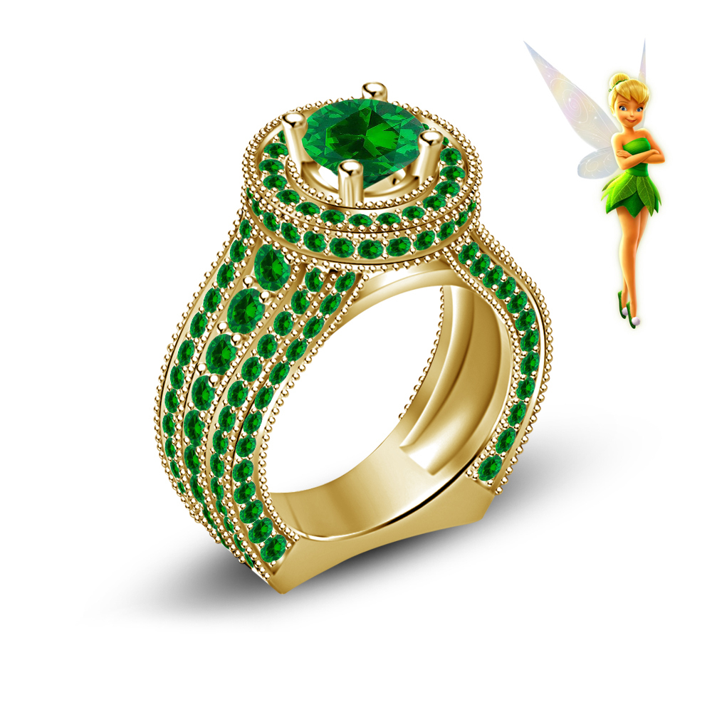 Tinker Bell Fairies Disney 14K Yellow Gold Plated 925 Silver Handmade Engagement Ring On Luulla