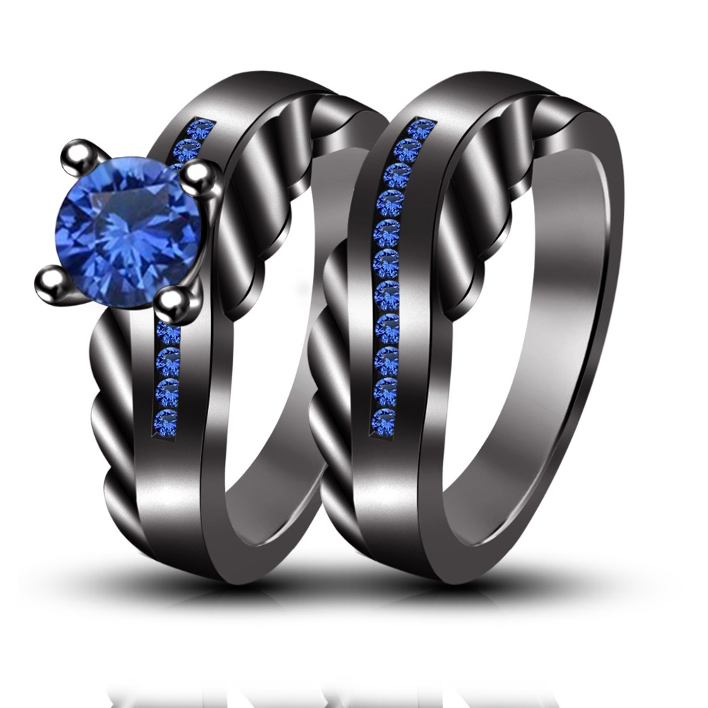 Wedding Amp Engagement Rings Set Blue Sapphire Black Rhodium Plated 925 Silver On Luulla