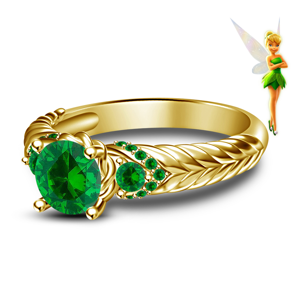 Vintage Disney Tinker Bell Fairies Green Sapphire 925 Silver Gold Finish Handmade Engagement