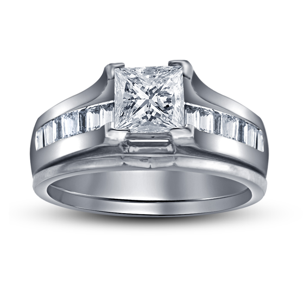 sterling sliver platinum plated princess cut cubic