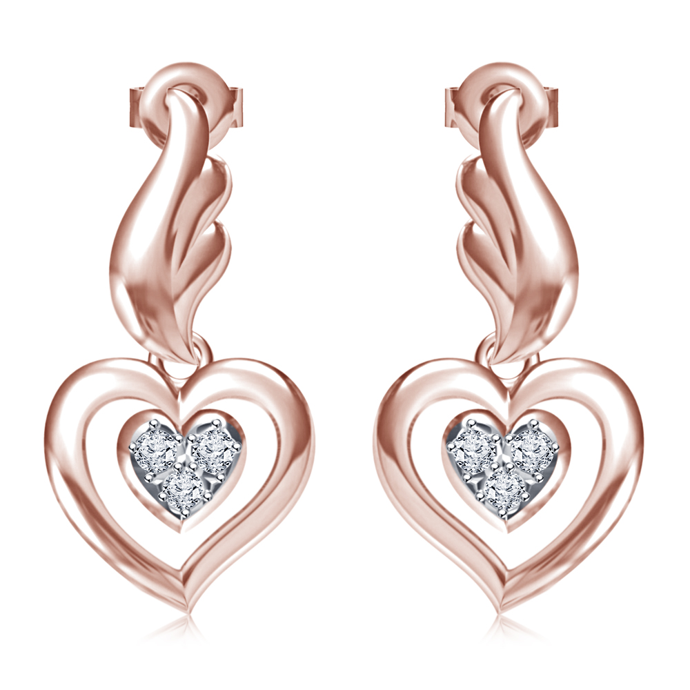 Cubic Zirconia Lovely Heart Stud Earrings For ,daily Use Earrings Present  In 14k Rose Gold Plated 925 Sterling Silver