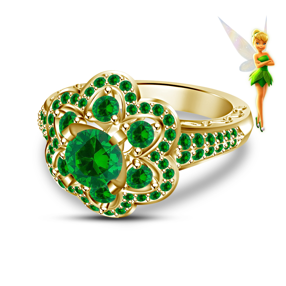 14K Yellow Gold Plated 925 Silver Round Green Sapphire Handmade Tinker Bell Amp Disney Fairies Eng