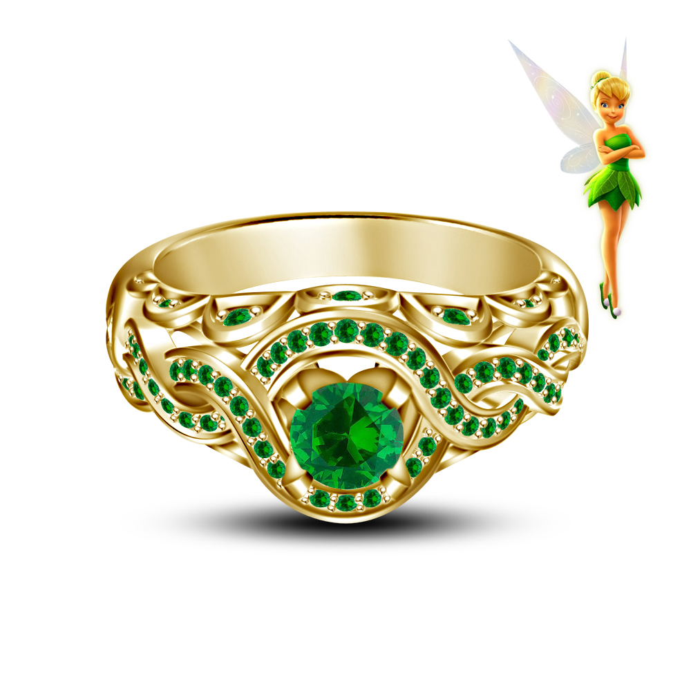 Green Sapphire 14K Yellow Gold Over 925 Silver Tinker Bell Disney Fairies Handmade Wedding Ring