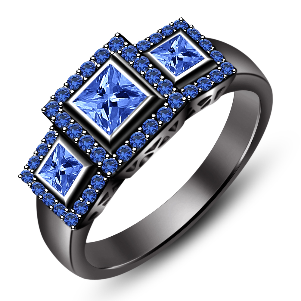 Women s SOLID 14k Black Gold Plated 2 0 CT Blue Sapphire Handmade Three S