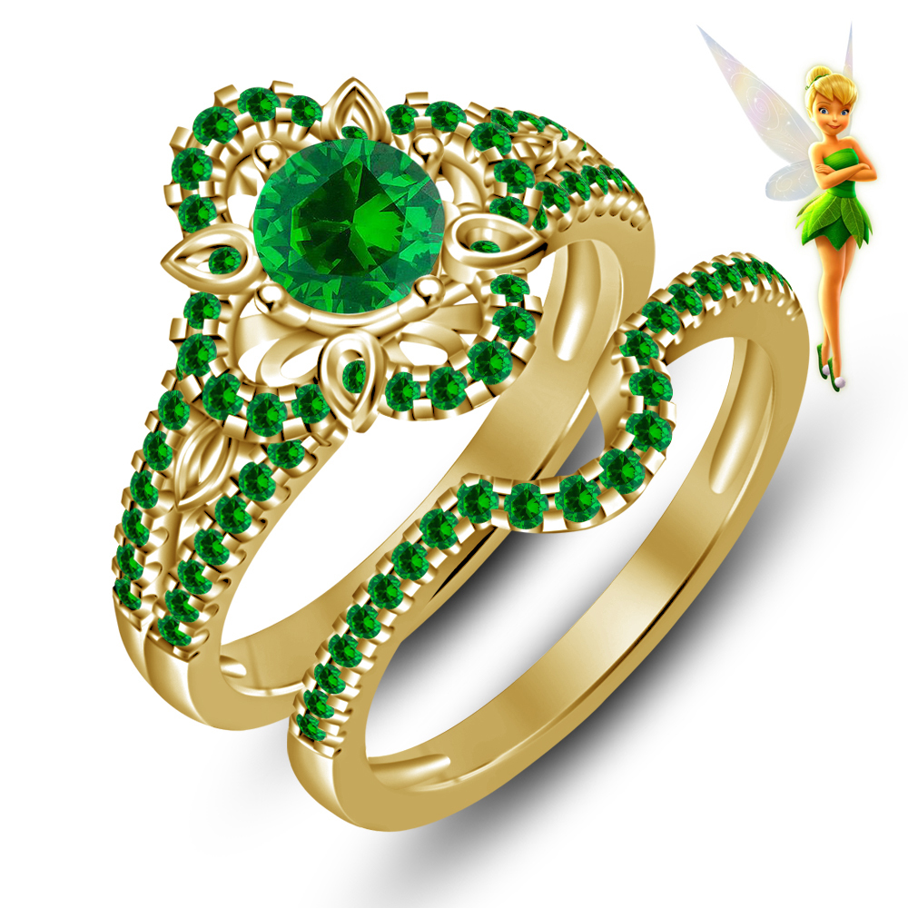 Green Sapphire Disney Tinker Bell Fairies 925 Silver 14K Yellow Gold Plated Handmade Engagement