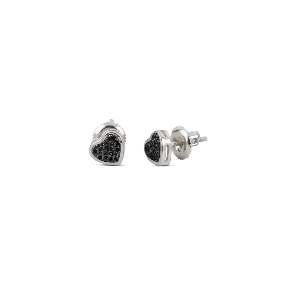 Vintage Black Real Diamond 1 Pair Platinum Plated Solid 925 Silver Ear Stud E