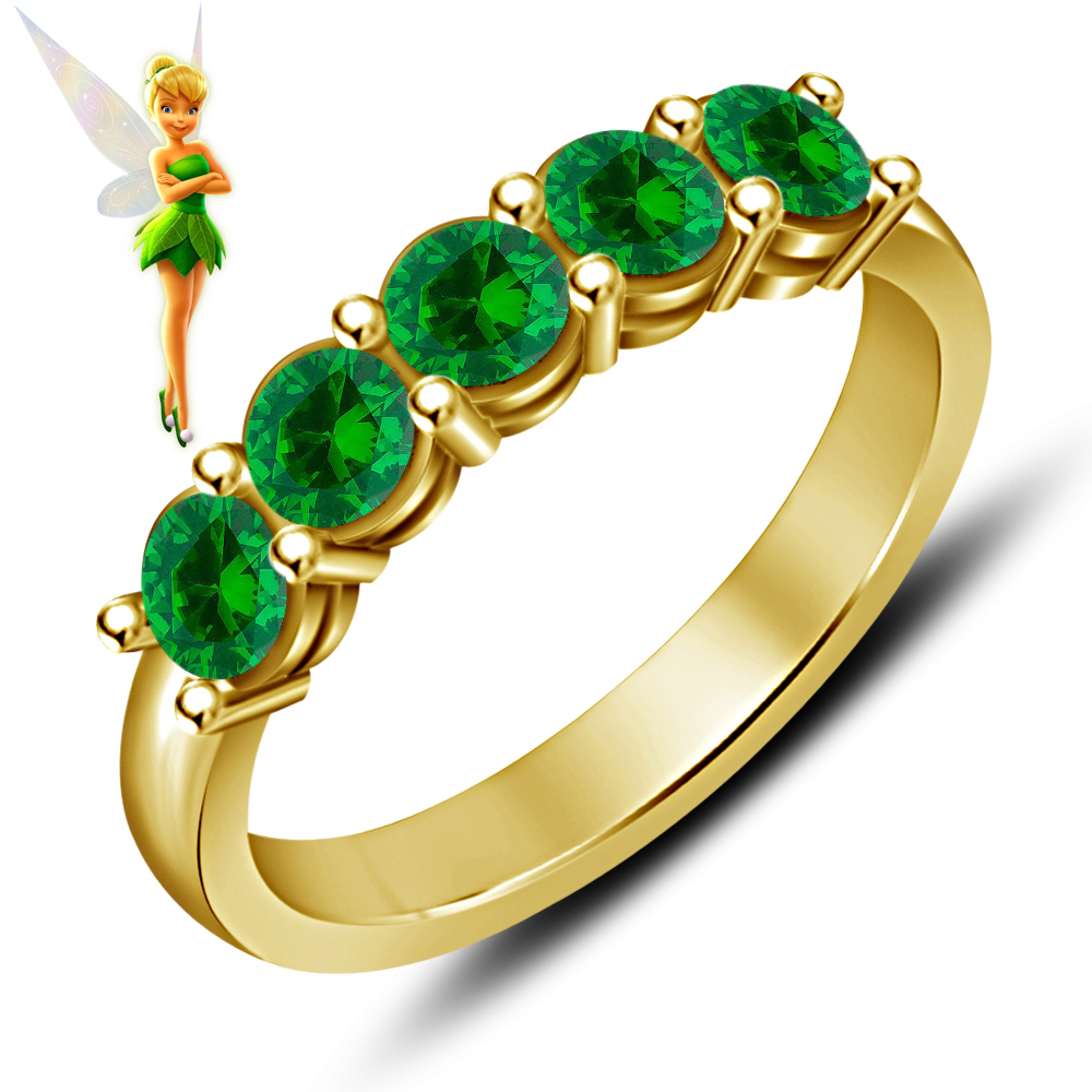 Vintage Disney Tinker Bell Fairies 14k Yellow Gold Plated 925 Silver Wedding Handmade Band Ring
