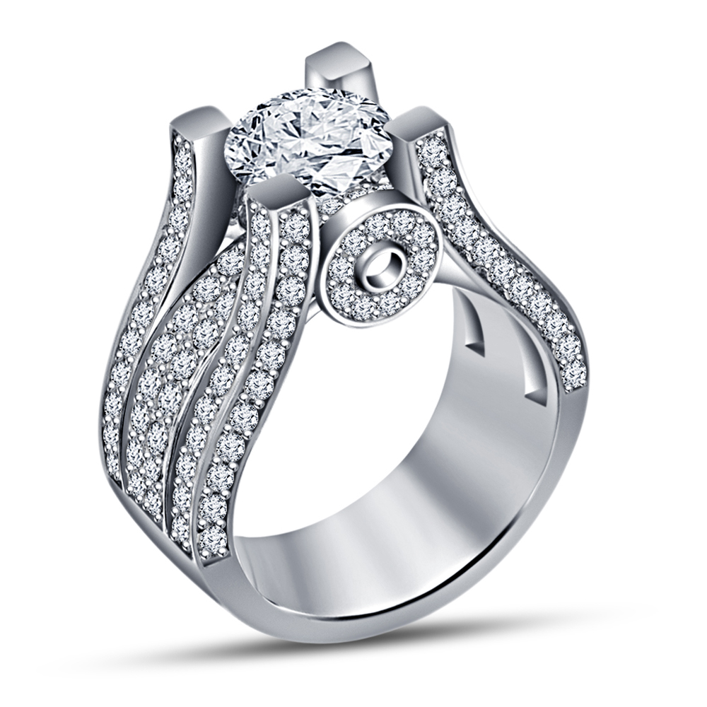 cubic zirconia platinum plated 925 silver solitaire
